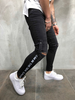 Black Ankle Printed Ripped Skinny Fit Denim A131 Streetwear Denim Jeans - Sneakerjeans