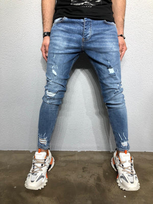 Sneakerjeans - Blue Washed Ankle Ripped Jeans BL235 - Sneakerjeans
