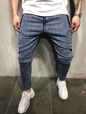 Sneakerjeans Blue Checkered Jogger Pant AY047