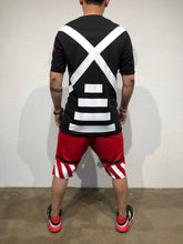 Load image into Gallery viewer, Red Striped Sweat Short B178 Streetwear Sweat Shorts