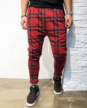 Red Checkered Jogger Pant B140 Streetwear Jogger Pants - Sneakerjeans