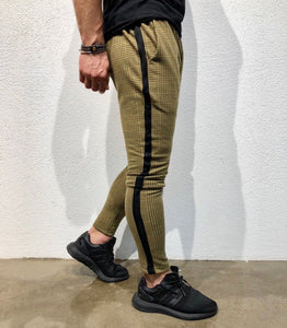 Brown Checkered Side Striped Jogger Pant B138 Streetwear Jogger Pants