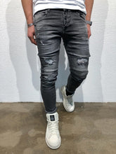 Load image into Gallery viewer, Black Destroyed Slim Fit Denim B75 Streetwear Denim Jeans - Sneakerjeans