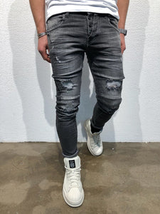 Black Destroyed Slim Fit Denim B75 Streetwear Denim Jeans - Sneakerjeans
