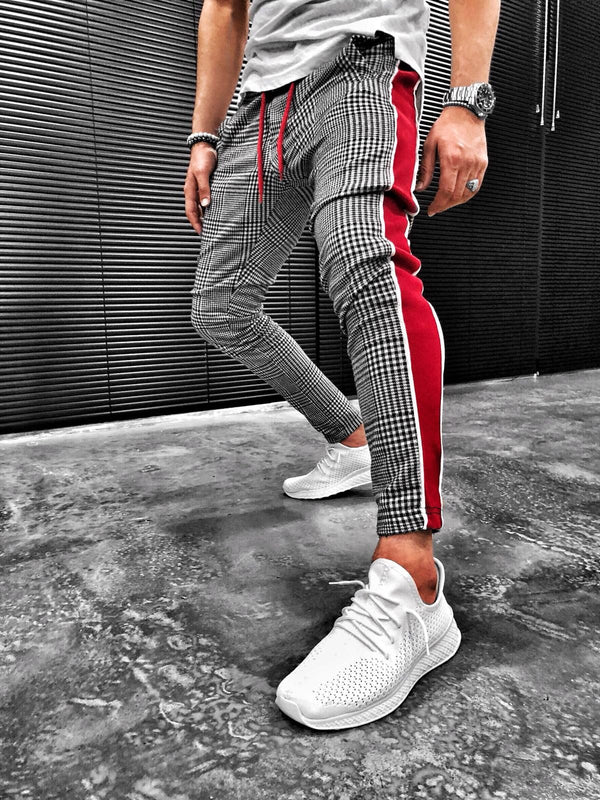 Gray Checkered Bold Red Stripd Casual Jogger Pant S106 Streetwear Jogger Mens Pants - Sneakerjeans