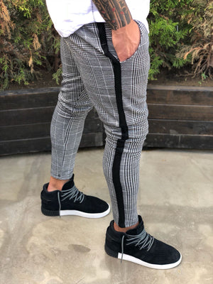 Light Gray Side Striped Checkered Casual Jogger Pant B223 Streetwear Jogger Pants - Sneakerjeans