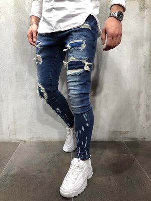 Blue Patched Ripped Skinny Fit Jeans A254 Streetwear Mens Jeans - Sneakerjeans