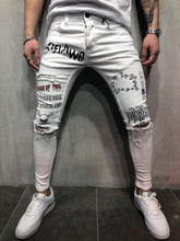 Load image into Gallery viewer, White Printed Slim Fit Denim A74 Streetwear Denim Jeans