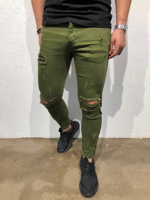 Green Striped Skinny Fit Denim B176 Streetwear Jeans - Sneakerjeans
