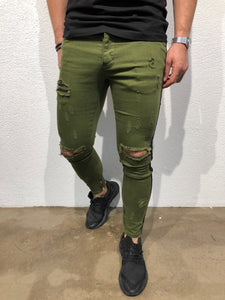 Green Striped Skinny Fit Denim B176 Streetwear Jeans