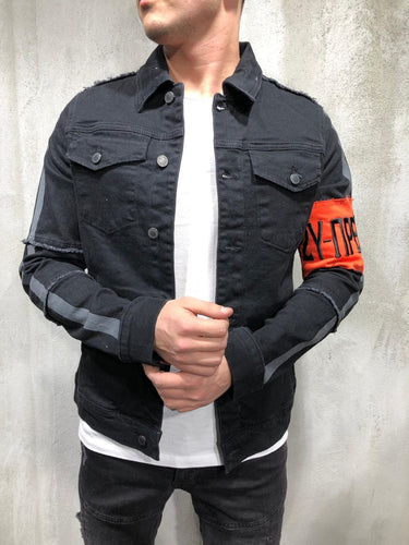 Black Sleeve Taped Printed Denim Jacket A369 Streetwear Denim Jacket