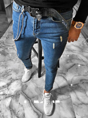 Blue Distressed Ultra Skinny Fit Denim S234 Streetwear Jeans - Sneakerjeans