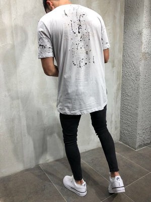 White Printed Oversize T-Shirt A25 Streetwear T-Shirts - Sneakerjeans
