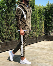 Load image into Gallery viewer, Khaki White Striped Tracksuit Gymwear Set B242 Streetwear Tracksuit Jogger Set