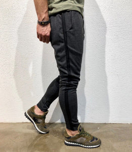 Anthracite Checkered Side Striped Jogger Pant B139 Streetwear Jogger Pants