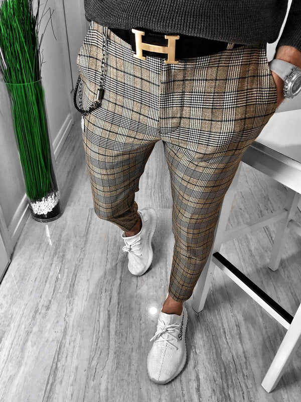 Beige Checkered Casual Jogger Pant S150 Streetwear Casual Jogger Pants - Sneakerjeans