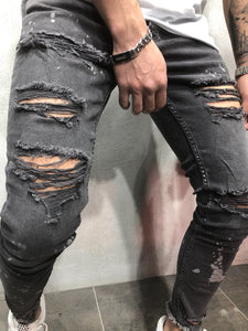 Gray Distressed Slim Fit Denim A86 Streetwear Denim Jeans