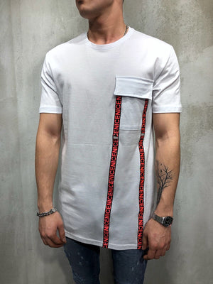 White Front Pocket Printed Oversize T-Shirt A49 Streetwear T-Shirts - Sneakerjeans