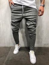 Load image into Gallery viewer, Gray Yellow Striped Casual Jogger Pant A213 Streetwear Casual Jogger Pants