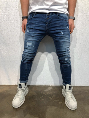 Shredded Slim Fit Denim B46 Streetwear Denim Jeans - Sneakerjeans