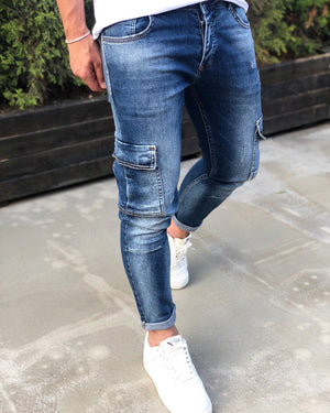 Blue Cargo Pocket Skinny Fit Denim B194 Streetwear Cargo Jeans - Sneakerjeans