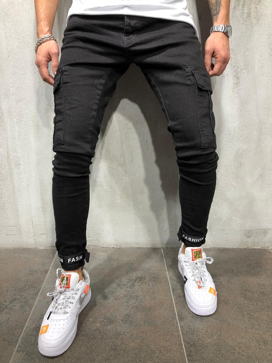 Black Cargo Pocket Ankle Taped Skinny Fit Denim A210 Streetwear Jeans - Sneakerjeans