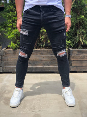 Black Destroyed Ankle Zipper Skinny Fit Denim B189 Streetwear Baggy Jeans - Sneakerjeans