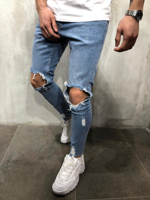 Blue Washed Ripped Ultra Skinny Fit Denim AY354 Streetwear Jeans - Sneakerjeans