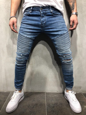 Destroyed Biker Slim Fit Denim A18 Streetwear Denim Jeans - Sneakerjeans