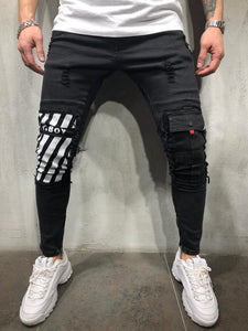 Black Printed Ankle Zip Skinny Fit Denim AY376 Streetwear Jeans