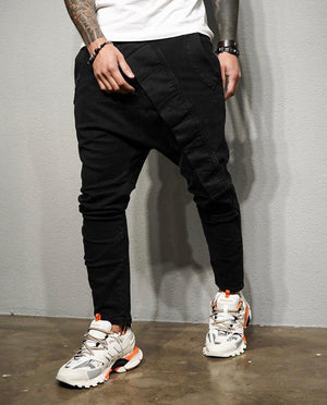 Black Asymetric Baggy Denim BL200 Streetwear Baggy Jeans - Sneakerjeans