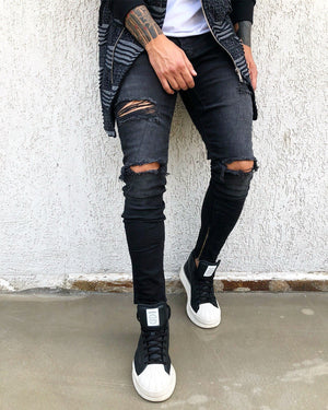Black Ripped Ankle Zip Skinny Fit Denim B273 Streetwear Jeans - Sneakerjeans