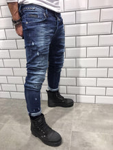 Load image into Gallery viewer, Distressed Rivet Slim Fit Denim B6 Streetwear Denim Jeans