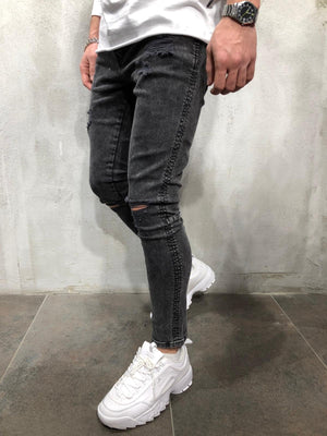 Black Ripped Ultra Skinny Fit Jeans AY111 Streetwear Mens Jeans - Sneakerjeans