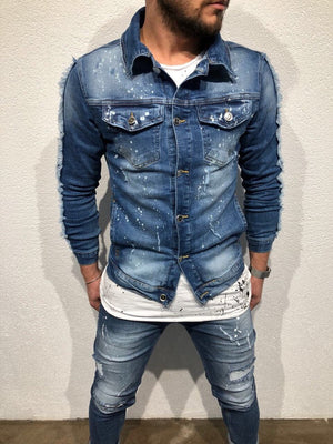 Money Maker Printed Jeans Jacket B81 Streetwear Mens Jean Jacket - Sneakerjeans