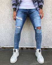 Load image into Gallery viewer, Blue Washed Ankle Zip Distressed Skinny Fit Denim B270 Streetwear Jeans