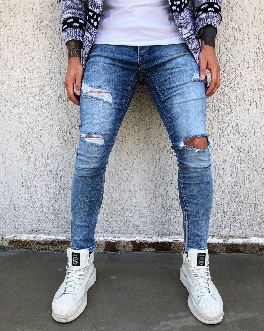 Blue Washed Ankle Zip Distressed Skinny Fit Denim B270 Streetwear Jeans