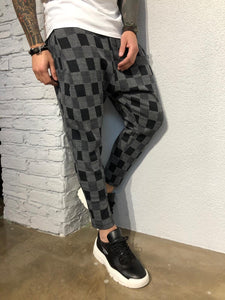 Anthracite Checkered Jogger Pant B355 Streetwear Jogger Pants