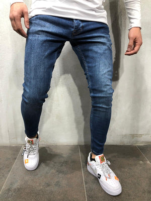 Blue Skinny Fit Denim A221 Streetwear Jeans - Sneakerjeans