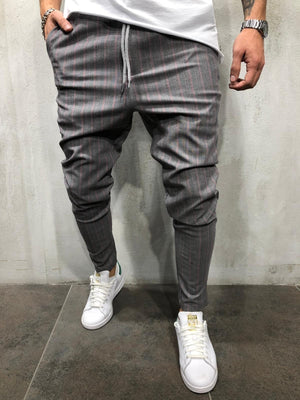 Gray Pink Striped Casual Jogger Pant A212 Streetwear Casual Jogger Pants - Sneakerjeans
