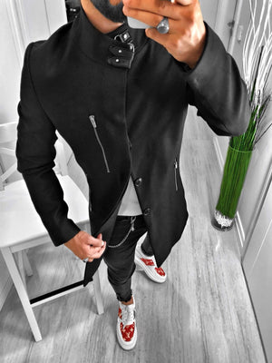 Black Long Coat S125 Streetwear Mens Coat - Sneakerjeans