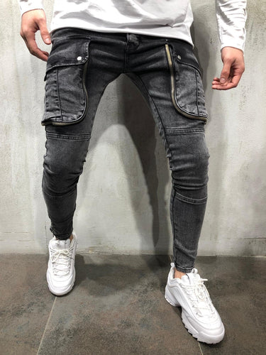 Black Big Pocket Ultra Skinny Fit Denim AY103 Streetwear Jeans