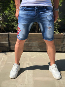 Blue Snake Patched Slim Fit Denim Short B199 Streetwear Denim Shorts