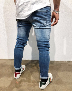 Blue  Knee Zipper Slim Fit Denim B64 Streetwear Denim Jeans - Sneakerjeans
