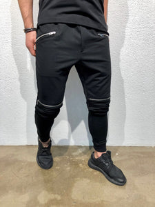 Black Knee Zipper Jogger Pant B123 Streetwear Jogger Pants