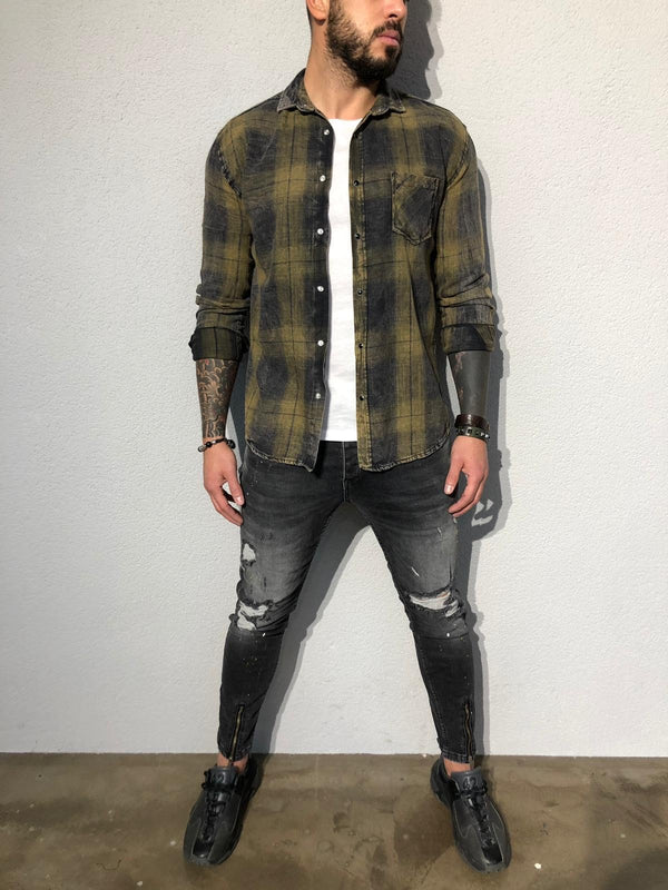 Khaki Checkered Oversized Shirt B353 Streetwear Shirt - Sneakerjeans