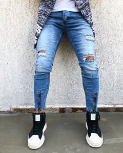 Blue Washed Front Ankle Zip Distressed Skinny Fit Denim B265 Streetwear Jeans