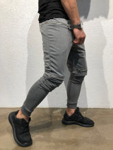 Load image into Gallery viewer, Gray Knee Side Pocket Zipper Jogger Pant B172 Streetwear Jogger Pants