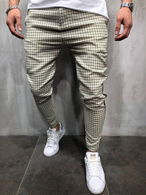 Cream Side Striped Casual Jogger Pant A146 Streetwear Jogger Pants - Sneakerjeans