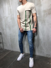 Load image into Gallery viewer, Beige Front Pocket Printed Oversize T-Shirt A49 Streetwear T-Shirts